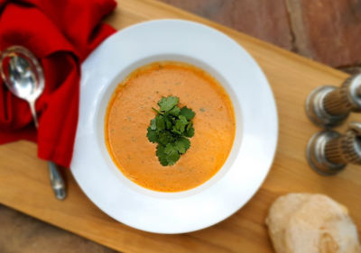 Mildly Spicy Roasted Tomato Soup with Coconut Milk