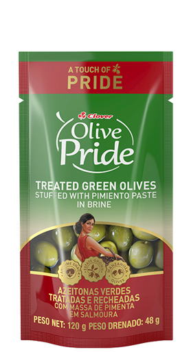 Picture of Clover Pimiento Paste Stuffed Green Olives in Brine - 120g