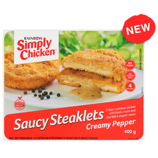 Picture of Rainbow Simply Chicken Saucy Steaklets Creamy Pepper 400g