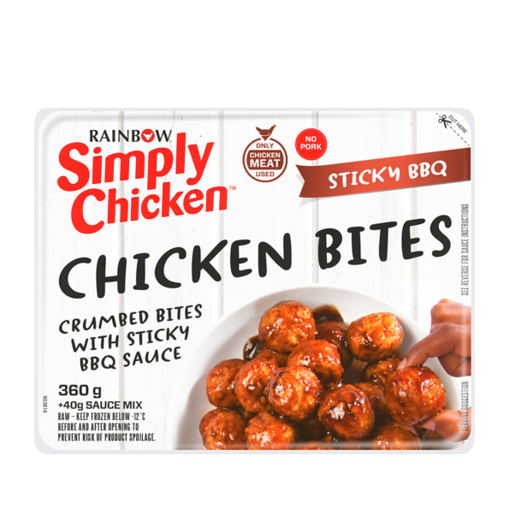 Picture of Rainbow Simply Chicken Crumbed Sticky BBQ Chicken Bites 360g
