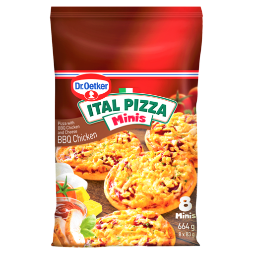 Picture of Dr. Oetker Ital Pizza Minis Frozen BBQ Chicken Pizza 8 Pack
